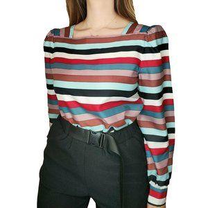 Vintage Striped Puff Sleeve Top
